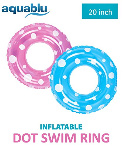 "aquablu Inflatable Inner Tube Cool Summer Swim Ring & Lounge Float for Pool Beach Lake River & More 20"" Diameter Polka Dot Design 2 Pack Perfect for Kids Teens & Adults Ages 6+"
