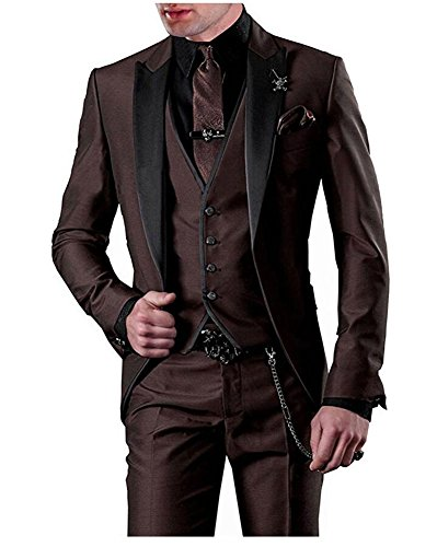 One Button 3 Pieces Brown Wedding Suits Notch Lapel Men Suits Groom Tuxedos Brown 38 chest / 32 waist (Brown Tuxedo)