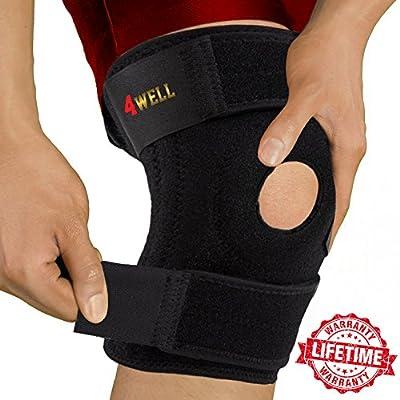Knee Patella Support Brace for Men Women - Best Open Patella Knee Stabilizer - For ACL Arthritis Running Sport - Adjustable Non Slip Comfort Neoprene (Up to 18 inch)