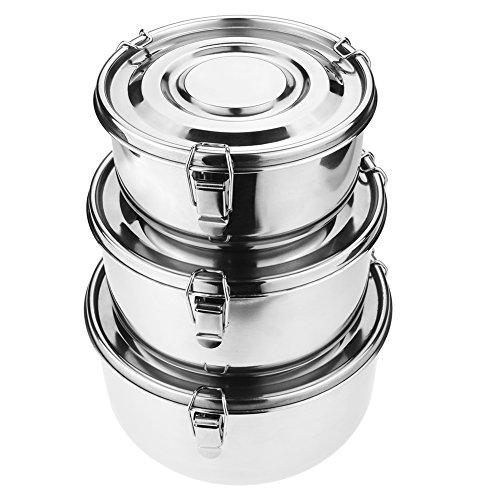 Stainless Steel Storage Containers - Mecete Stainless Steel Food Storage Containers 304 - Leak-Proof, Airtight, Smell-Proof - Perfect For Camping Trips, Lunches, Leftovers, Soups, Salads & More (Set of 3)