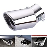 Dsycar Universal Stainless Steel Car Exhaust Tail Muffler Tip Pipe - Fit pipe Diameter 1.6 to 2.75 in - (Silver Large Curved:6.3'' X 4'')