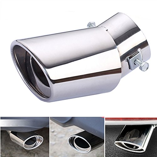 Dsycar Universal Stainless Steel Car Exhaust Tail Muffler Tip Pipes - Fit Pipes Diameter 1.6 to 2.75 inch - (Silver Large Curved:6.3'' X 4'')