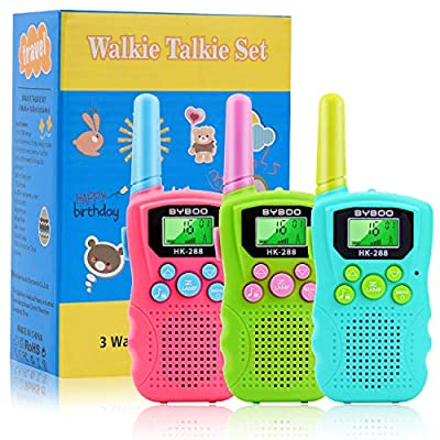 BYBOO Kids Walkie Talkies 3 Pack, 22 Channels 2 Way Radio Walky Talky Toys with Backlit LCD Flashlight, 3 Miles Range Best Gifts Toys for Boys & Girls Indoor Outdoor Activity: Toys & Games
