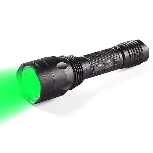 ULTRAFIRE Green Hunting Flashlight, XP-E2 LED 650 Lumens, Single Mode, 520-535 nm Wavelength 256 Yards,Tactical Night Hunting Light for Hog Pig Coyote Varmint Predator Rifle