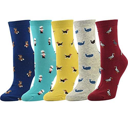 Women Novelty Socks Animal Crew Socks Cotton Cute Cartoon 5 Packs (Casual Cartoon Pattern)