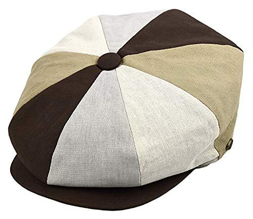 Deewang Mens Newsboy Cap, Patchwork Cabbie, Driving Cap, Light Weight Applejack Hat (Large, Brown Patch) -