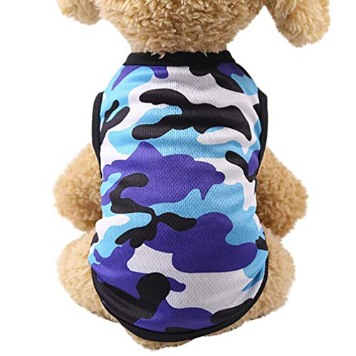 succeedtop For Small Dog Girl Dog Boy Soft Summer Woodland Camouflage Cotton Vest Dog Clothes Pet Clothing (S, blue)
