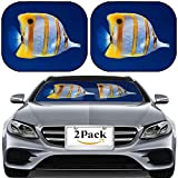 MSD Car Sun Shade for Windshield Universal Fit 2 Pack Sunshade Block Sun Glare UV and Heat Protect Car Interior Copperband Butterfly Fish Chelmon rostratus on Natural Blue Background Image