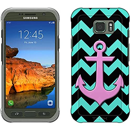 Samsung Galaxy S7 Active Case, Snap On Cover by Trek Anchor on Chevron Turquoise Black Slim Case Sales