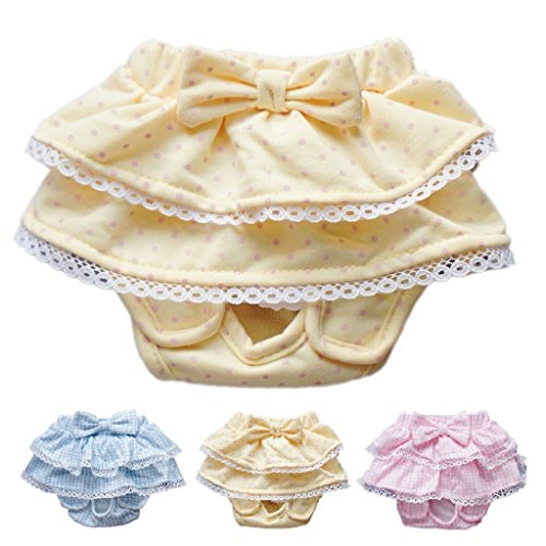 Dog SKIRT Diaper Female Sanitary Pant Dress Ruffles Cotton For SMALL Breeds DELIVERY TIME 2 - 4 DAY (YELLOW, MEDIUM: Waist 8