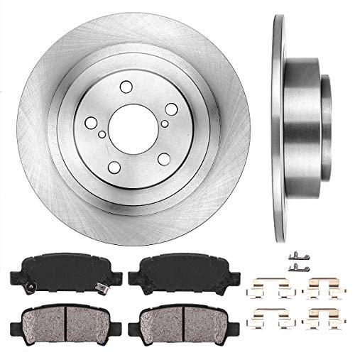 REAR 290 mm Premium OE 5 Lug [2] Brake Disc Rotors + [4] Ceramic Brake Pads + Clips