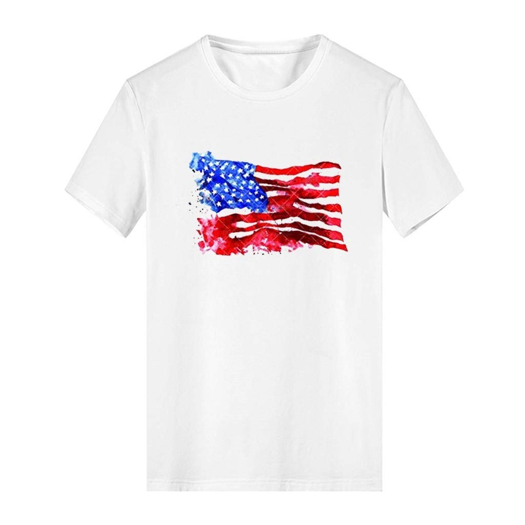 ASOBIMONO Mens Distressed American Flag T-Shirts Old Glory Veteran Patriotic Tops White Casual Fit Tees