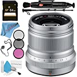 Fujifilm XF 50mm f/2 R WR Lens (Silver) 16536623 + 46mm 3 Piece Filter Kit + 64GB SDXC Card + Lens Pen Cleaner + Fibercloth + Lens Capkeeper + 70in Monopod + Deluxe Cleaning Kit Bundle