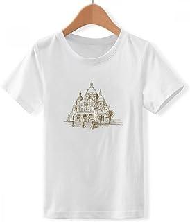 DIYthinker Jungen Kirche Zeichen Skizze Landschaft mit Rundhalsausschnitt Weißes T-Shirt DIYlab