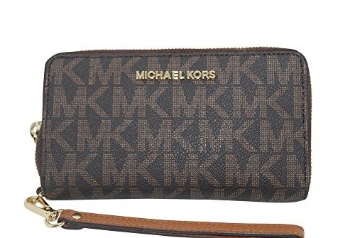 Michael Kors Jet Set Travel Signature PVC Large Flat Multifunction Phone Case Wristlet (Brown / Acorn) by Michael Kors