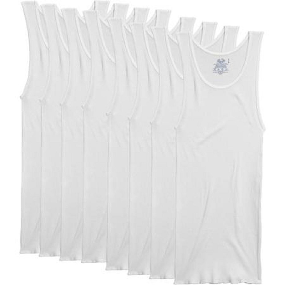 Fruit of the Loom Men's 8-Pack White 100% Cotton A-Shirts Tanks (2X-Large, White)