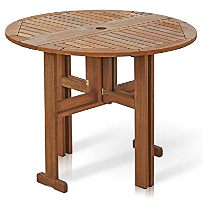 Furinno FG17035 Tioman Hardwood Patio Furniture Gateleg Round Table in Teak Oil - Unique and stylish table, functional yet space-saving for any home Sets up easily and quickly with the gate-leg design Sturdy and durable, Easy assembly, Easy to move - patio-tables, patio-furniture, patio - 518Ko5BlsvL. SS400  -