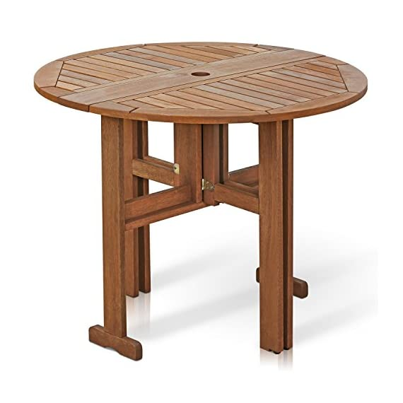 Furinno FG17035 Tioman Hardwood Patio Furniture Gateleg Round Table in Teak Oil - Unique and stylish table, functional yet space-saving for any home Sets up easily and quickly with the gate-leg design Sturdy and durable, Easy assembly, Easy to move - patio-tables, patio-furniture, patio - 518Ko5BlsvL. SS570  -