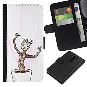 YiPhone /// Tirón de la caja Cartera de cuero con ranuras para tarjetas - Feliz Divertido Bonsai - LG G3