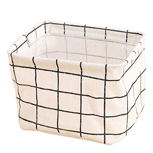 Small Foldable Storage Basket waterproof Oxford Storage Bins for Toy Storage(White,7.9x5.5x6.3In)