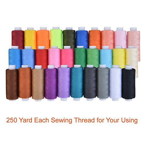 Paxcoo 30 Assorted Color Polyester Sewing Thread Spools 250 Yards Each
