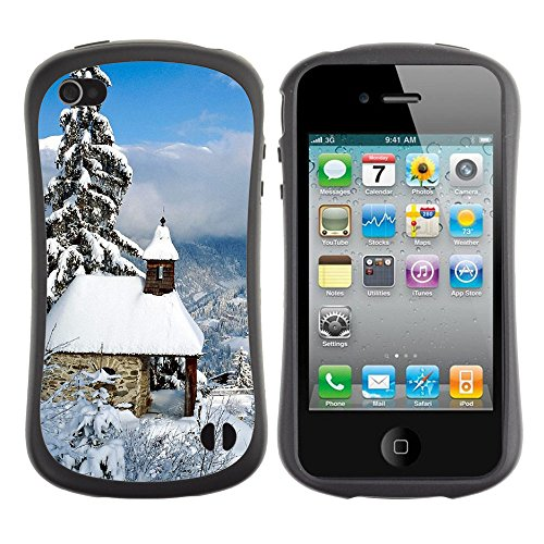 Apple Iphone 4 / 4S [Nature Snowy House Tree Parallax]