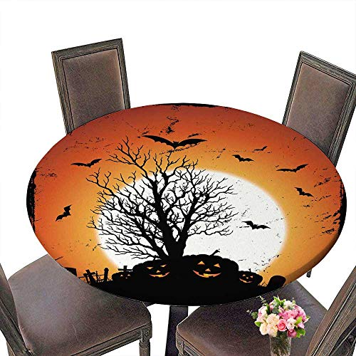 PINAFORE Round Fitted Tablecloth Jack O' Lantern of Pumpkins for Halloween Holidays for All Occasions 35.5