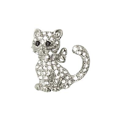 Yvette Clear Swarovski Crystal Silver Tone Cat Pin Brooch