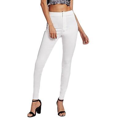 892b4f538 Sunenjoy Femmes Pantalons Crayon Taille Haute Rayures Skinny Slim Casual  Mode Chic Élégant