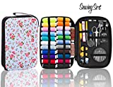 INNOCHEER Sewing Kit with 101 Sewing Accessories, 24 Spools of Thread -24 Color, Mini Sewing Kits for Beginners,Traveller, Emergency, Whole Family to Mend and Repair (flower)