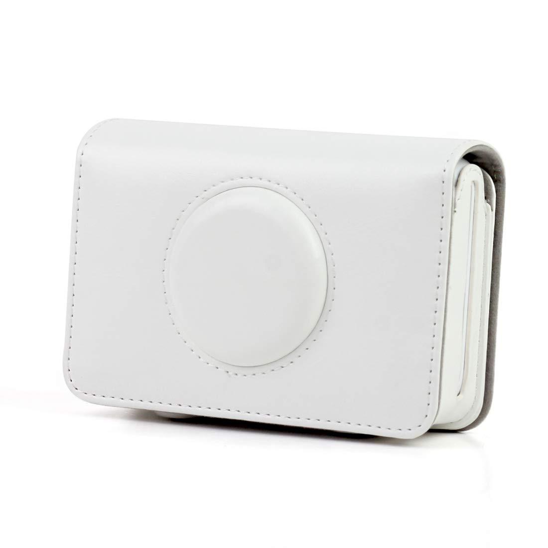 レザーカメラケース ソリッドカラー PUレザーケース ポラロイドスナップタッチカメラ用 (ブラック) メンズ レディース (カラー:ホワイト) B07PMSZXTH