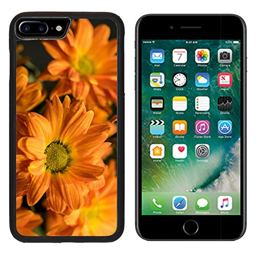 (MSD Premium Apple iPhone 7 Plus Aluminum Backplate Bumper Snap Case iPhone7 Plus IMAGE ID 35891512 Colorful floral decorative background with orange flowers chrysanthemum on a black background)