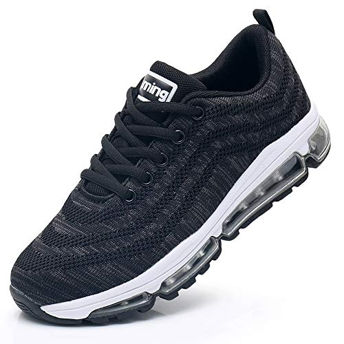 Impdoo Womens Air Cushion Tennis Running Shoes Lightweight Walking Fitness Jogging Cross Training Gym Sport Sneakers (Black US 8 B(M)