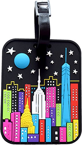New York Luggage Tag NY Night Time Skyline Large Heavy Duty Rugged Durable Travel Bag Tag