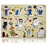 Wooden Chunky Puzzle Profession People Pieces - Learning Educational Puzzle Board with Free Standing Pieces for Toddlers & Kids (10 pcs) Gleeporte