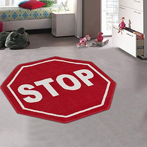 Kids / Baby Room / Daycare / Classroom / Playroom Area Rug. Stop Sign. Street Sign. Fun. Educational. Non-Slip Gel Back. Bright Colorful Vibrant Colors (3' 3