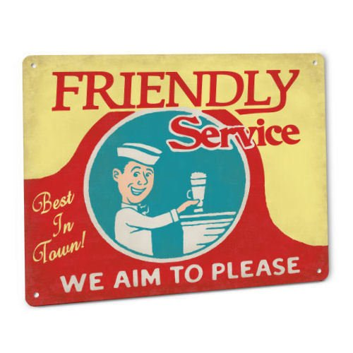 ShopForAllYou vintage decor wall signs Friendly Service Soda Jerk Retro Sign 50s Diner Drug Store Fountain Cola Pop ()