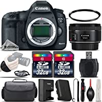 Canon EOS 5D Mark III DSLR Full Frame 22.3MP Camera + EF 50mm f/ 1.8 STM Lens + 64GB Storage + Wrist Grip Strap + Case + UV Filter + Card Reader - International Version