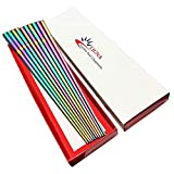 LIUNA Stainless Steel Rainbow Square Chopsticks 23cm/9'' Household Metal Tableware 5 Pairs