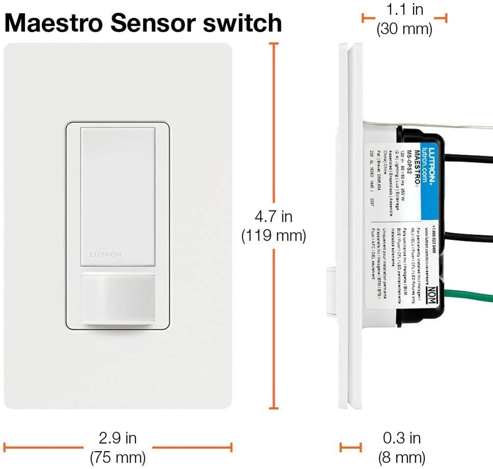 Lutron Ms Ops5m Wh Maestro Sensor Switch 5a No Neutral Required Single Pole Or Multi Location Ms Ops5mh Wh White Amazon Ca Tools Home Improvement