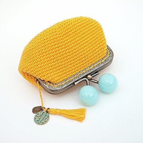 Monedero de ganchillo amarillo con boquilla metálica cuadrada y bolas azules: Amazon.es: Handmade