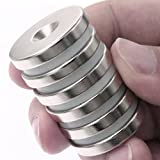 """DIYMAG 6 Pack 1.26""""D x 0.2""""H Neodymium Disc Countersunk Hole Magnets. Strong, Permanent, Rare Earth Magnets,With 6 screws."""
