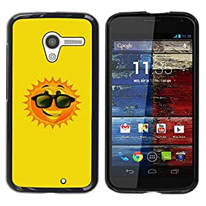 Paccase / SLIM PC / Aliminium Casa Carcasa Funda Case Cover para - Happy Summer Sun Cartoon Sunglasses - Motorola Moto X 1 1st GEN I XT1058 XT1053 XT1052 XT1056 XT1060 XT1055