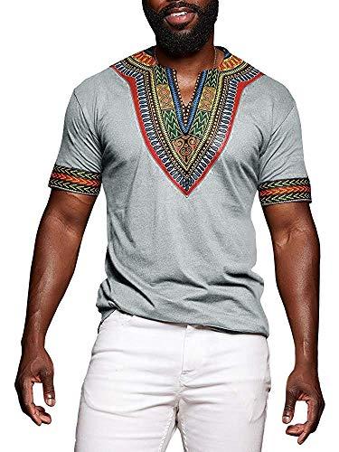 Huiyuzhi Men's African Print Dashiki T-Shirt Summer Short Sleeve Fashion Tops Tee Grey ()