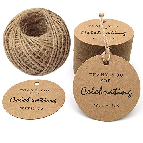 Thank You for Celebrating with Us,Original Design Paper Gift Tag, 100 PCS Kraft Tags with 100 Feet String for Wedding, Baby Shower, Party Favor (Brown)