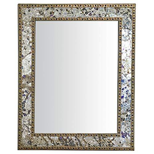 Metallic Wall (Crackled Glass Decorative Wall Mirror - 30X24 Mosaic Glass Wall Mirror, Vanity Mirror, Glamorous Silver & Gold (Mixed Metallics))