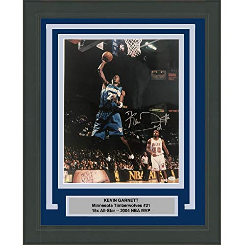 Framed Autographed/Signed Kevin Garnett Minnesota Timberwolves 16x20 Basketball Photo JSA COA