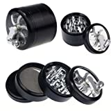Bluesky New 4-layer Multi-function and colors Aluminum Hand Crank Herbal Herb Tobacco Grinder Smoke Grinders (Black)