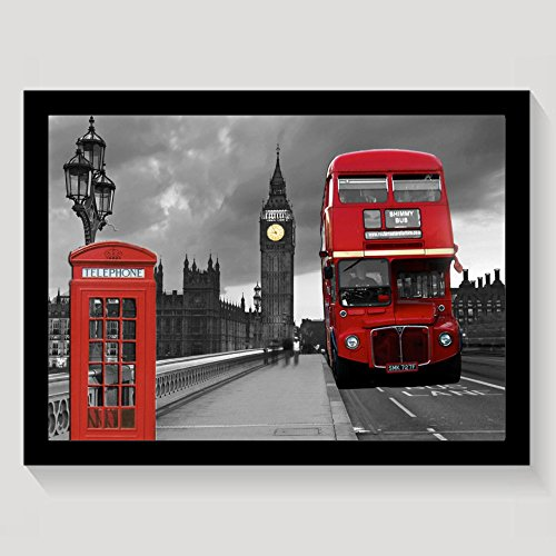 Vintage London Street Red Bus Framed Wall Art Prints On Canvas Wall Decorations Picture Wooden Frames Gift - Frames London Vintage