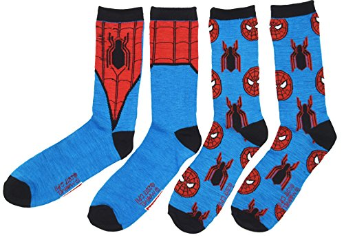 Spider-Man Homecoming Costume Men's Casual Crew Sock Set Pack of 2